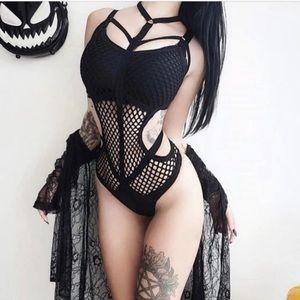 Tops - Fishnet Harness Choker Punk Gothic Bodysuit 🕷